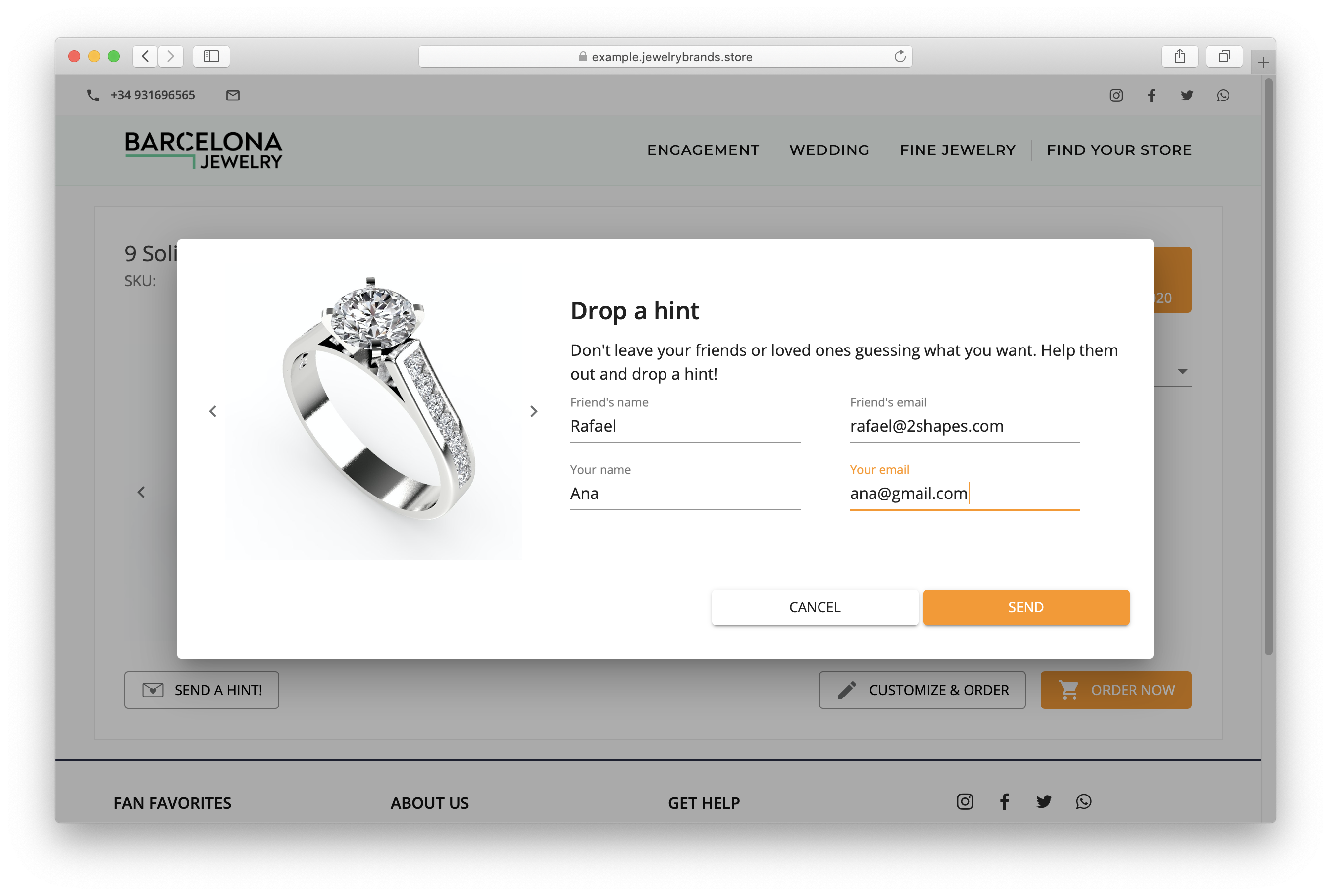 "Boyfriends Beware: 2Shapes eCommerce offers a ""Drop a Hint"" Functionality"